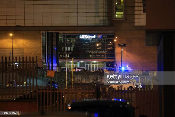 Police closeoff roads leading to the Manchester Arena stadium in Manchester England United Kingdom on May 23 2017 A large explosion was reported...