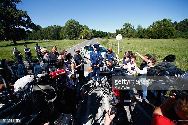 Police Cmmissioner Mike Bush holds a press conference at the police roadblock on the outskirts of Kawerau on March 10 2016 in Rotorua New Zealand...