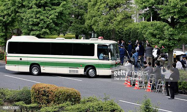 A police coach carrying former doomsday cult Aum Shinrikyo member Naoko Kikuchi arrives at Tokyo District Court on May 8 2014 in Tokyo Japan Kikuchi...