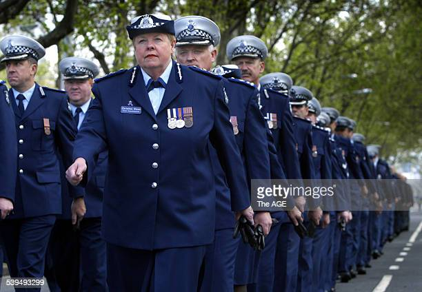 Police Commisioner Christine Nixon marches along St Kilda Road to the Police Memorial as part of National Police Rememberance Day incorporating Blue...