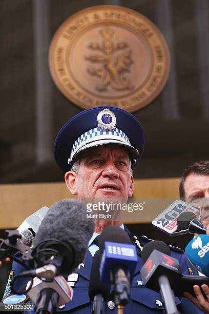 Police Commissioner Andrew Scipione talks to the media outside the Lindt Cafe in Martin Place on December 15 2015 in Sydney Australia Today marks the...