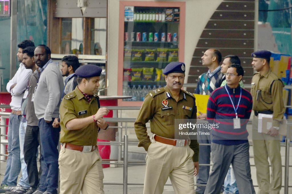 Police Commissioner G Nageswara Rao Airport Director Venkateshwar Rao and CISF official at Airport during suspected bag which was found in the...