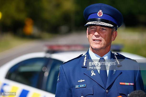 Police Commissioner Mike Bush holds a press conference at the police roadblock on the outskirts of Kawerau on March 10 2016 in Rotorua New Zealand...