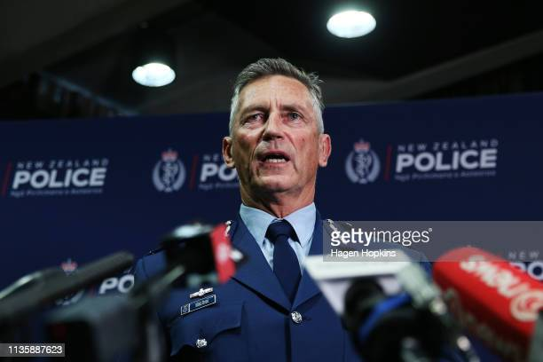 Police Commissioner Mike Bush speaks to media during a press conference at Royal Society Te Aparangi on March 15 2019 in Wellington New Zealand One...