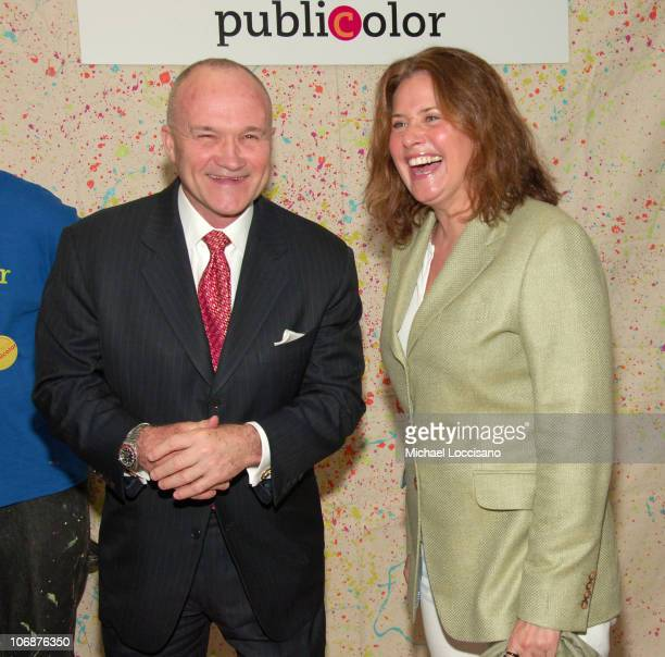 Police Commissioner Ray Kelly and Lorraine Bracco during Police Commissioner Ray Kelly Honored at 6th Annual Publicolor 'Stir Splatter and Roll'...