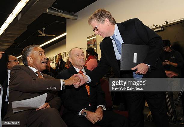 Police Commissioner Raymond Kelly joins Reverend Al Sharpton at the National Action Network to promote the Cash for Guns program where cash is being...