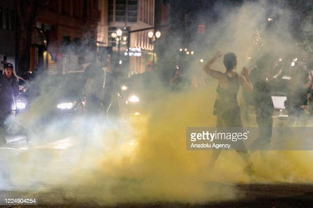 Police confront demonstrators as Black Lives Matter supporters demonstrate in Portland Oregon on July 4 2020 for the thirtyeighth day in a row at...