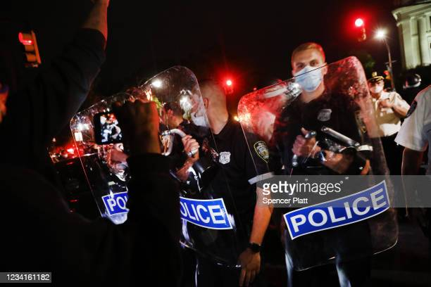 Police confront protesters as demonstrations continue in Brooklyn on May 29 2020 in New York City Minneapolis Police officer Derek Chauvin was filmed...