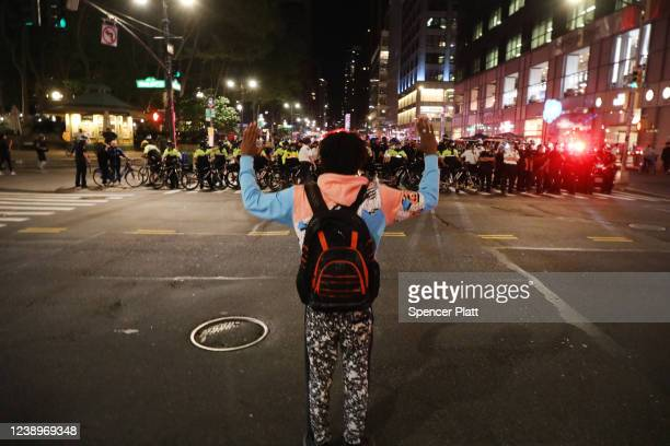 Police confront protesters in Manhattan on May 31 2020 in New York City Minneapolis Police officer Derek Chauvin was filmed kneeling on George...