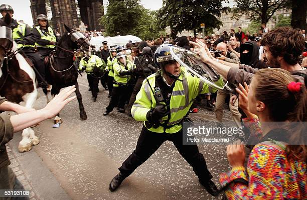 Police confront protesters on Princes Street July 4 2005 in Edinburgh Scotland The protest is one of several organised protests that lead up to the...