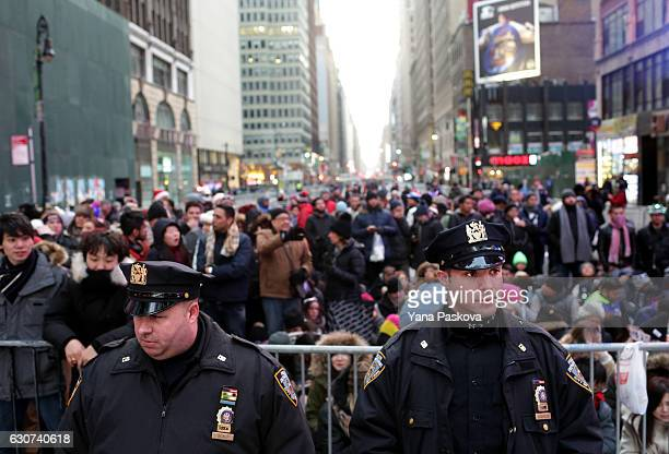 Police congregate in the leadup to New Year's eve celebrations in Times Square in New York City on December 31 2016Security remains heightened as...