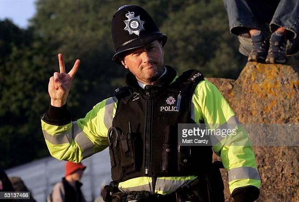 Police Constable Mark Curran at the Glastonbury festival on June 23 2005 in Glastonbury England The festival will run from June 24 26 June and is...