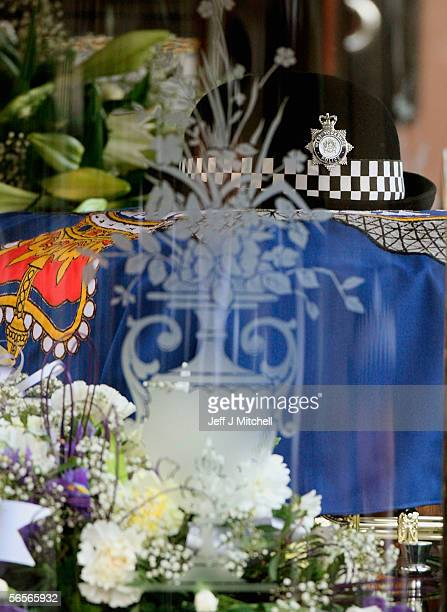 Police Constable Sharon Beshenivsky's hat sits on her coffin during her funeral on January 11 2006 in Bradford England PC Beshenivksy was killed...