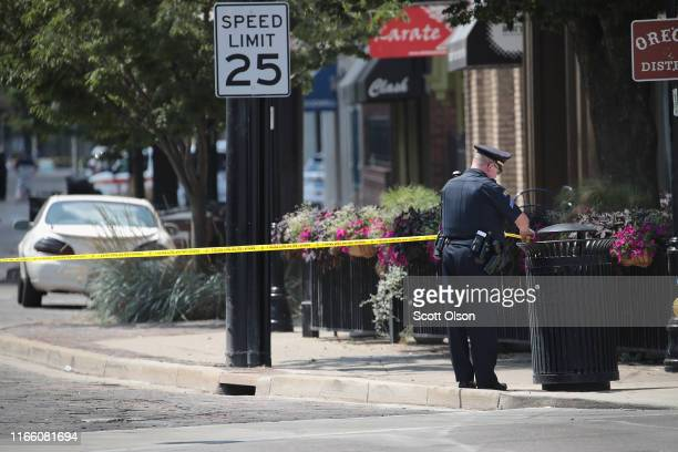 Police continue their investigation after a mass shooting in a popular nightlife district on August 04 2019 in Dayton Ohio At least 9 people were...