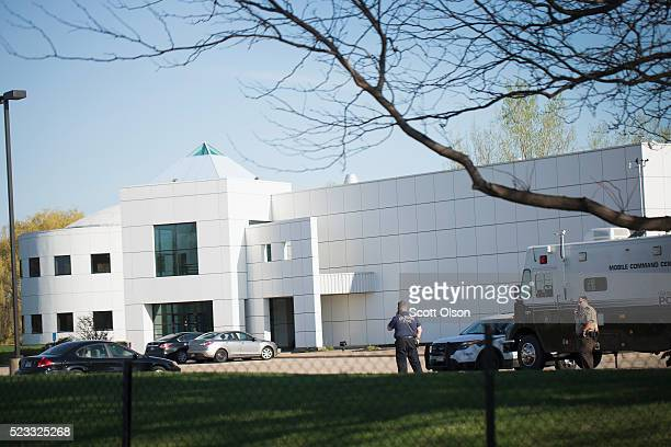 Police continue to stand guard at Paisley Park the home and studio of Prince on April 22 2016 in Chanhassen Minnesota Prince was pronounced dead...