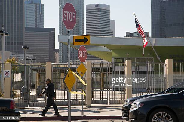 Police converge on Edward R Roybal Learning Center as all Los Angeles city school are shut down after receiving a threat on December 15 2015 in Los...