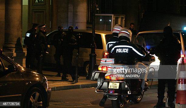 Police convoy arrives at Paris court with the alleged gang leader Frenchman Youssouf Fofana on his arrival from Abidjan at Paris Charles de Gaulle...