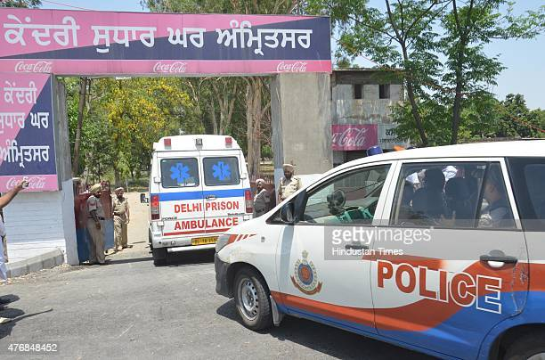 Police convoy with Ambulance carrying Khalistani terrorist Devinder Pal Singh Bhullar to Guru Nanak dev Hospital for medical on June 12 2015 in...
