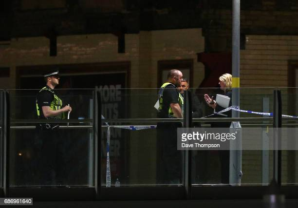 Police corden off an area close to the Box Office entrance to the Manchester Arena on May 23 2017 in Manchester England An explosion occurred at...