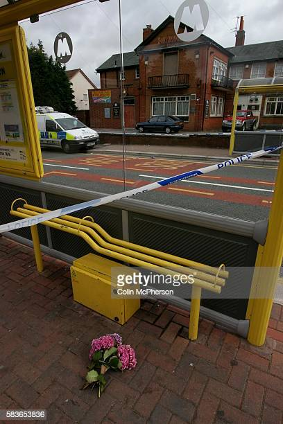 A police cordon and a single floral tribute outside the Huyton Arms pub near near the scene of the murder of Anthony Walker gets under way The black...