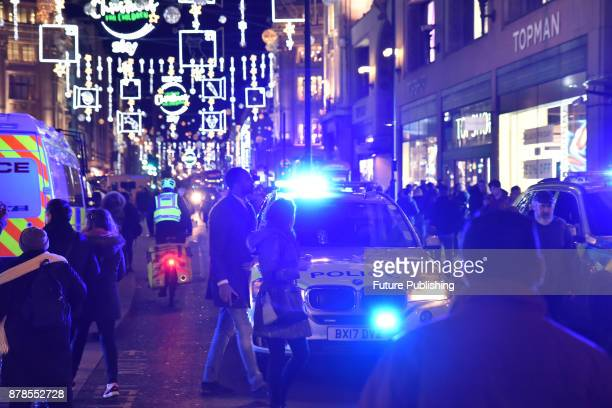 Police cordon around Oxford Circus station during the incident on November 24 2017 in London England PHOTOGRAPH BY Matthew Chattle / Barcroft Images