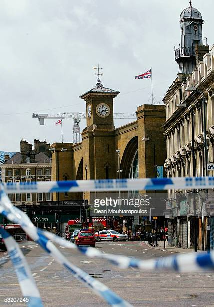 A police cordon at Kings Cross station following a series of explosions which ripped through London's underground tube network on July 7 2005 in...