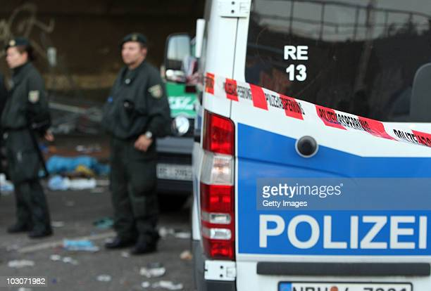 Police cordon at the scene of the accident in the tunnel where a stampede crushed at least 15 people to death and injured dozens at Germany's famous...