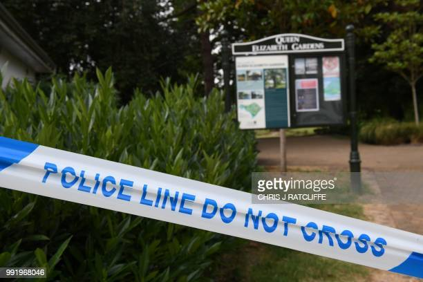 A police cordon is seen at Queen Elizabeth Gardens in Salisbury southern England on July 5 2018 cordoned off in connection with the investigation and...