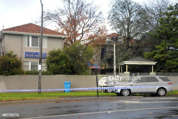 A police cordon is seen at the scene of a shootout in the Melbourne bayside suburb of Brighton on June 6 2017 A fatal shootout claimed by the Islamic...