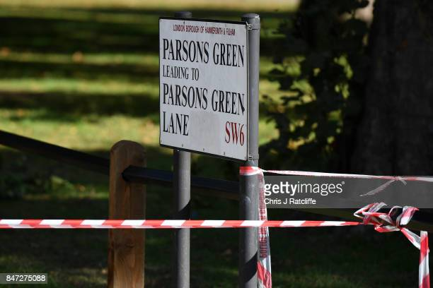 Police cordon is tied round a local street sign at Parsons Green Underground Station on September 15 2017 in London England Emergency services are...