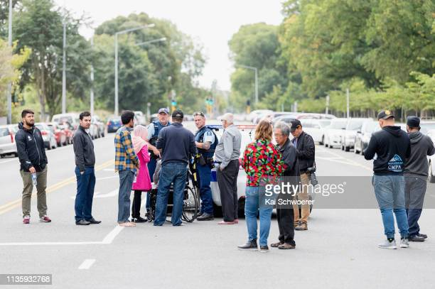 Police cordon off Deans Avenue in front of the Masjd Al Noor Mosque on March 15 2019 in Christchurch New Zealand 49 people have been confirmed dead...