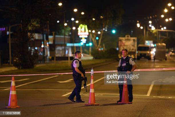 Police cordon off Linwood Avenue near the Linwood Masjid on March 15 2019 in Christchurch New Zealand 49 people have been confirmed dead and more...