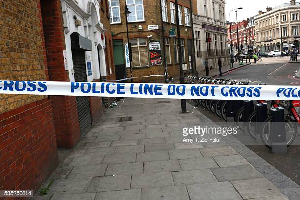 Police cordon off section of Greenland road as a murder investigation is underway in Camden on May 29 2016 in London England Reportedly a stabbing...