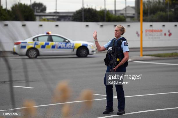 Police cordon off Strickland Street where a car bomb has been found on March 15 2019 in Christchurch New Zealand Four people are in custody following...