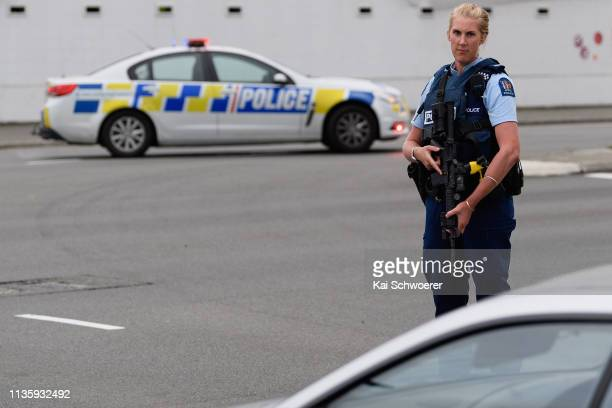 Police cordon off Strickland Street where a car bomb has been found on March 15 2019 in Christchurch New Zealand 49 people have been confirmed dead...