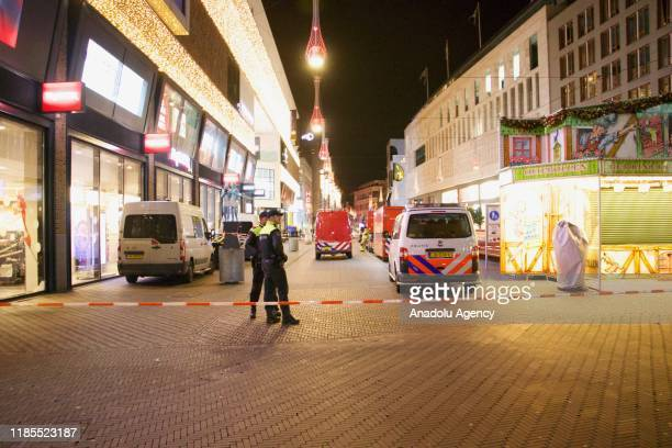 Police cordon off the area at the Grote Marktstraat in The Hague The Netherlands on November 29 2019 after several people were reported injured in a...