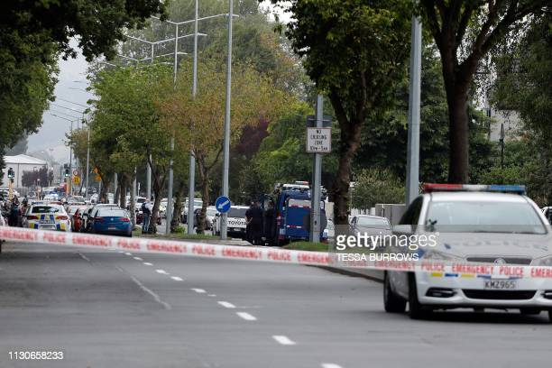 Police cordon off the area in front of the Masjid al Noor mosque after a shooting incident in Christchurch on March 15 2019 Attacks on two...