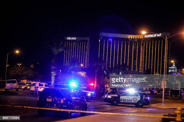 Police cordon off the crime scene area where a mass shooting at a concert killed more than 50 and injured more than a 500 people in Las Vegas Nevada...