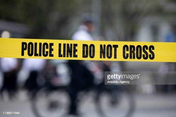 Police cordon off the scene at Pennsylvania Avenue after a man lit himself on fire near the White House in Washington DC, United States on April 12,...