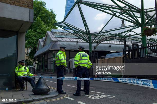 Police cordon remains around Borough Market following the recent terror attacks on June 7 2017 in London England The third attacker has been named...