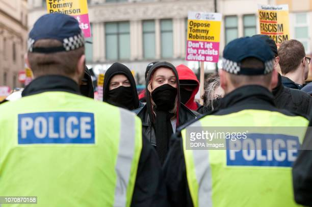Police cordon seen in front of counter protesters during a demonstration against the 'Brexit Betrayal March'. Thousands of people took to the streets...