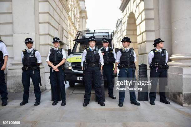 A police cordon stops the anti Theresa May and DUP coalition protesters at the top of King Charles St on June 17 2017 in London England PHOTOGRAPH BY...