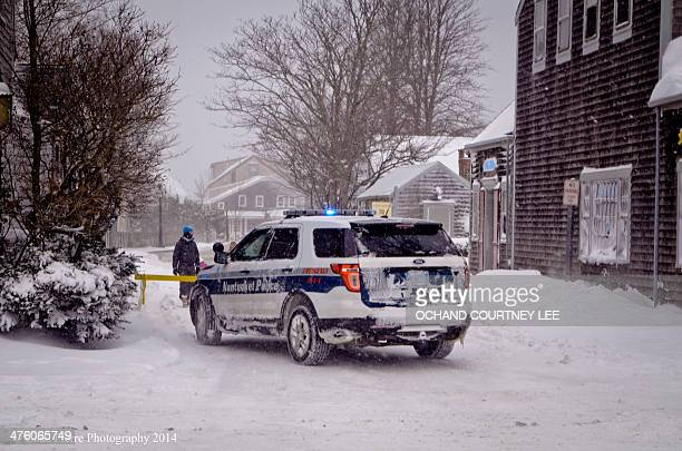 Police cruiser blocked access to flooded Easy Street, Nantucket during winter storm Hercules. Chad Pierre Photography @Chad_Pierre Winter Storm...