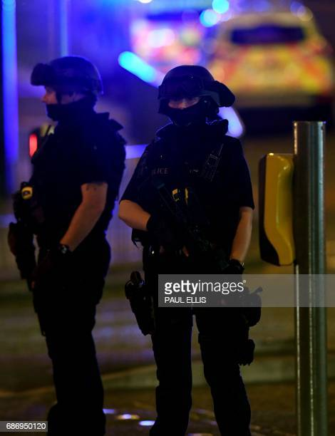 Police deploy at scene of explosion in Manchester England on May 23 2017 at a concert British police said early May 23 there were 'a number of...