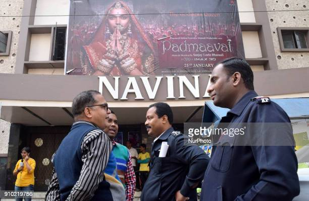 Police deployed outside different multiplex in Kolkata city KOLKATA to protections released of controversial Hindi movie film 'Padmavat' on January...