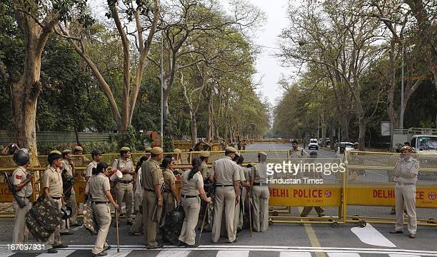 Police deployment and barricading at Janpath road in wake of public protest against the brutal rape of five year girl on April 20 2013 in New Delhi...