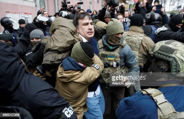 Police detain Former President of Georgia and former Odessa Governor Mikheil Saakashvili in Kiev Ukraine on December 05 2017