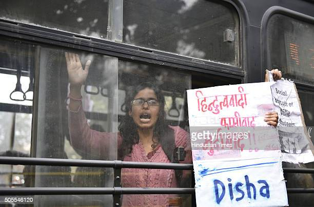 Police detain the activists of various student organisations including KYS SFI AISA SDPI and BAPSA during a protest outside HRD Ministry Office at...