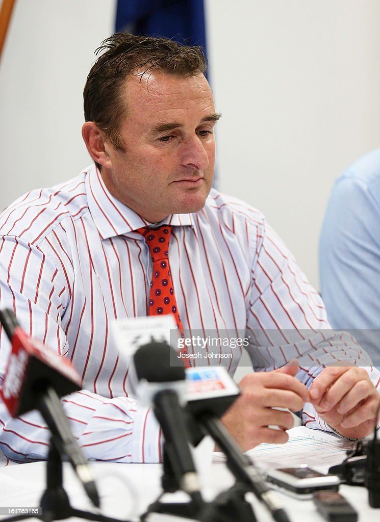 Police Detective Senior Sergeant Brian Archer reads an official report to media at a press conference at the Christchurch police station for the assault on cricketer Jesse Ryder on March 28, 2013 in Christchurch, New Zealand.