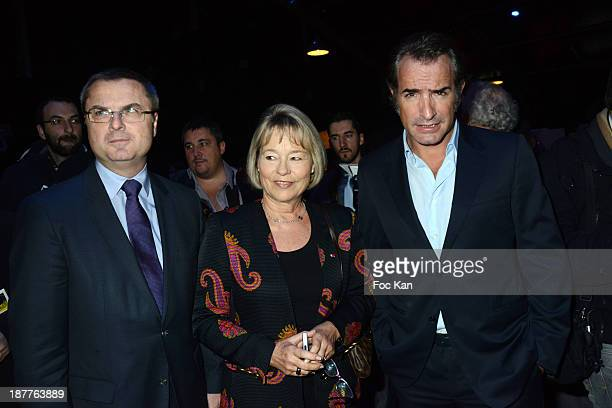 Police Director Christian Flaesch Martine Monteil and Jean Dujardin attend the Quai Des Orfevres 2014 Literary Prize award announcement at the Police...